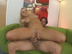 Blonde babe with massive jugs gets her ass reamed tubes