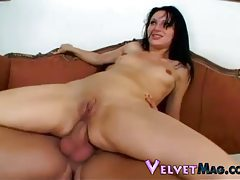 Raven haired goddess with tiny tits getting double penetrated tubes