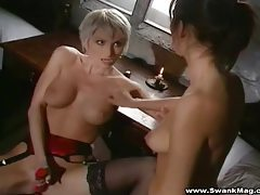 Slender lesbian ladies fucking their big toys tubes