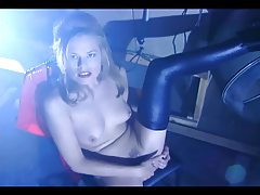 Blonde babe strips out of her latex to masturbate tubes