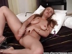 Slut with big tits and pierced pussy fucking her dildo tubes