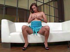 Hot brunette beauty fingering her pussy under her panties tubes