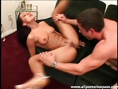 Leggy brunette milf with perky tits riding a thick shaft tubes