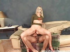 Gorgeous blonde with nice long legs gets her ass impaled tubes