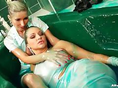 Clothed girls in the tub make a gooey mess tubes