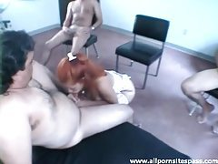 Slut with red hair sucks multiple cocks tubes