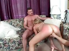 Blonde in golden bikini getting her ass reamed tubes