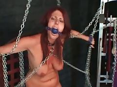 Chained and gagged girl in the dungeon tubes