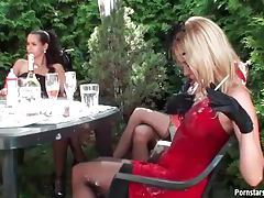 Party with classy girls is a mess outdoors tubes