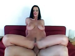 Luscious raven haired goddess impaled on huge cock tubes