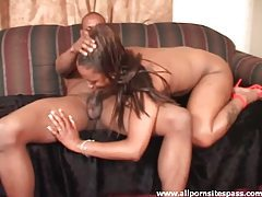 Horny ebony cougar milking cock with her mouth tubes