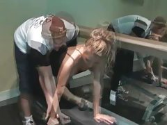 Luscious blonde milf teasing cock at the gym tubes