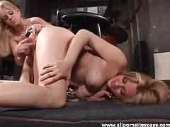 Blonde lesbian duo enjoying girl on girl action tubes