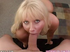 Mature blonde with massive jugs gives sensual blowjob tubes