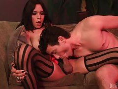 He blows this gorgeous shemale in stockings tubes