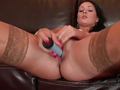 Sexy tan stockings on dildo fucking girl tubes