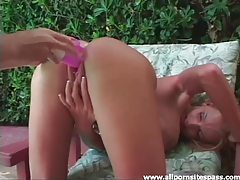 Busty couger gets pink dildo fucked in her sopping wet twat tubes