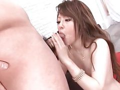 Cum on her face as she sucks a dick tubes