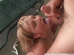Sexy girl sits on dick on the porch tubes
