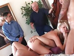 He watches his sexy wife take two dicks tubes