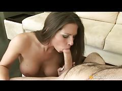 Cumshot in the mouth of busty brunette tubes