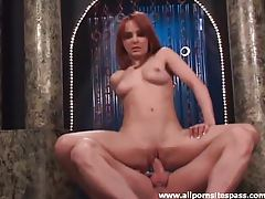 Redhead bounces on a big hard cock tubes