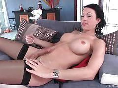 Tranny with sexy fake tits masturbates cock tubes