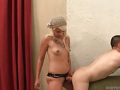She takes him with a strapon before they fuck tubes