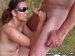 Amateur girlfriend sucks outdoor with huge facial cumshot tubes