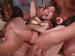 Submissive Asian milf getting her holes played with by two guy tubes