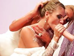 Two brides and a dildo get it on tubes