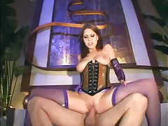 Brunette fucking in latex lingerie and a corset tubes