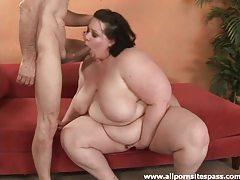 Big blubbery brunette BBW taming older mans huge cock tubes
