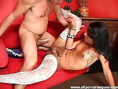 Patterned white stockings on cock taking shemale tubes