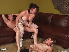 Busty brunette babe in sexy lingerie getting double drilled tubes