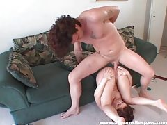 Dirty whore takes a hot creampie in the ass tubes