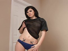 Babe in blue panties grinds on his cock tubes