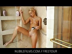 Skinny blonde Erica Fontes shower orgasm tubes