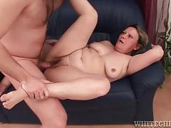 Horny granny with hairy muff getting pumped by younger dude tubes