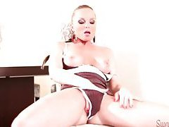 Solo Silvia Saint in sultry lingerie dances tubes