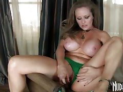 Incredibly busty milf uses big glass dildo tubes