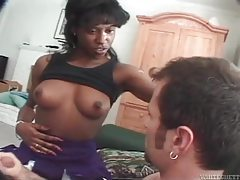 Horny ebony vixen enjoying a thick white dick tubes