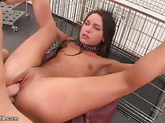 Teen slave taken from cage and fucked hard tubes