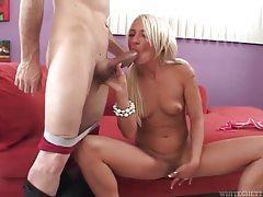 Cute pigtailed blonde sucks old man cock tubes