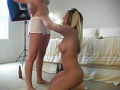 Three cute tanned girls show us their tits tubes