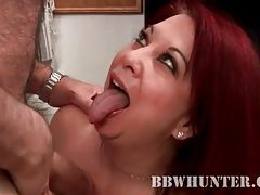 Fat redhead gives BJ to an old guy tubes