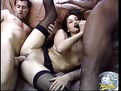 Slim horny beauty and her two lovers get it on tubes