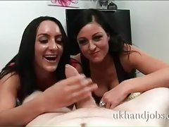 Busty brunette duo milking a fat cock tubes