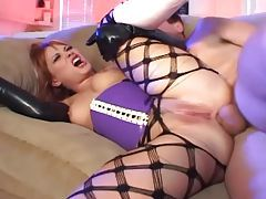 Anal sex in gloves pantyhose and knee high boots tubes