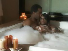 Making love to black pussy in the hot tub tubes